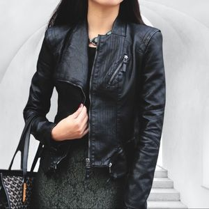 BLANK NYC Faux Leather Moto Jacket in Black